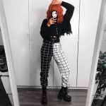 Black and White Checkerboard Trousers 1