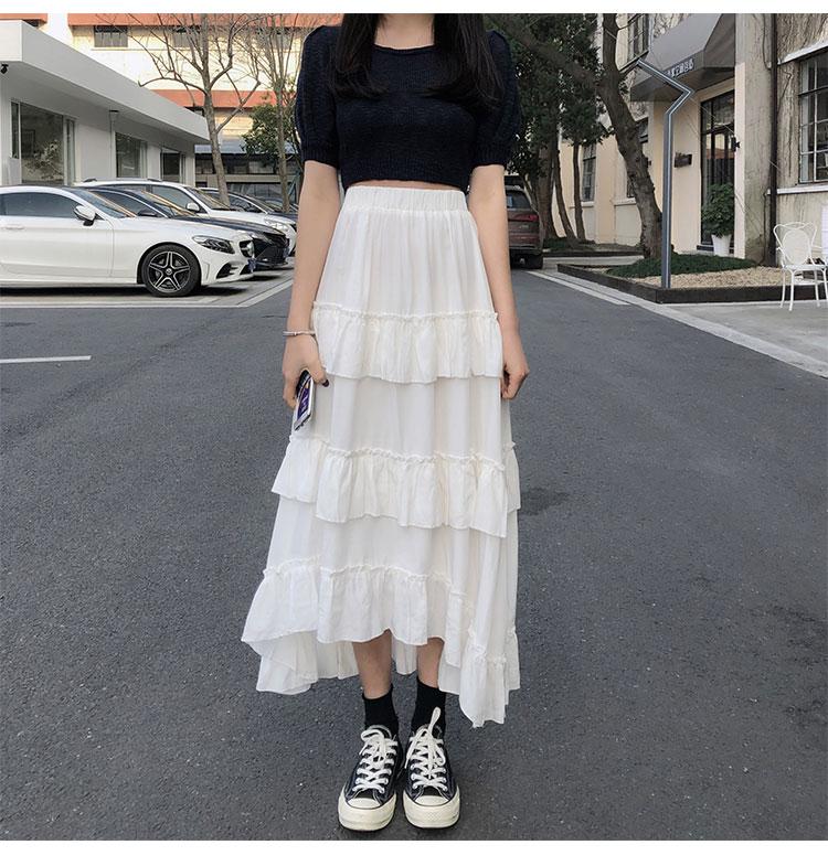 Asymmetrical Ruffle Maxi Skirt Punk Harajuku 58