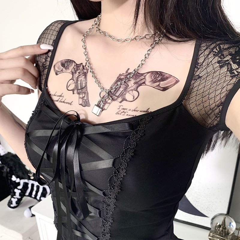 Vintage Top with mesh shoulders and lacing Egirl Pastel gothic 42