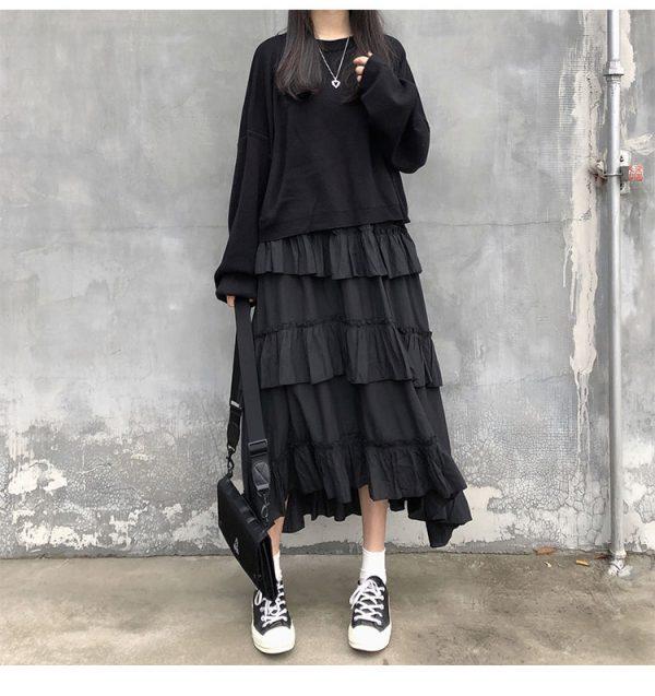 Asymmetrical Ruffle Maxi Skirt 34