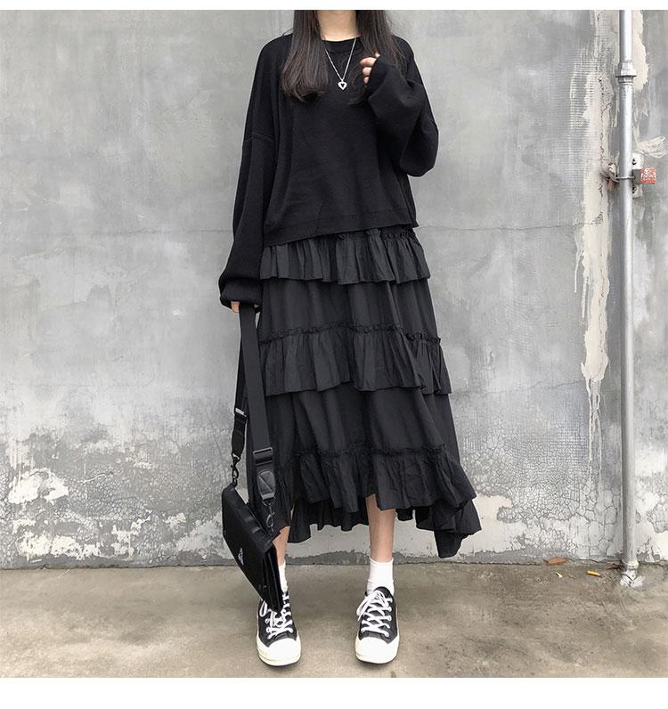 Asymmetrical Ruffle Maxi Skirt Punk Harajuku 47