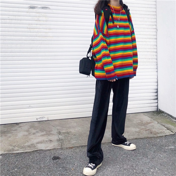 Harajuku E-girl Loose Striped Sweater 44