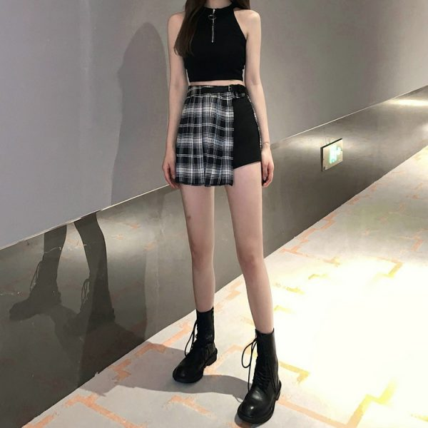 Open Pleated  Mini Skirt with shorts 10