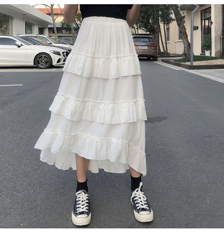 Asymmetrical Ruffle Maxi Skirt Punk Harajuku 55