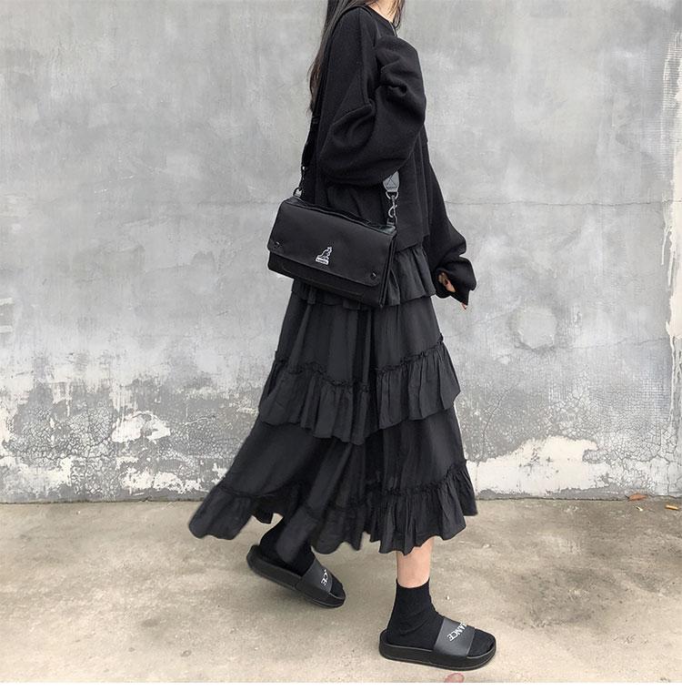 Asymmetrical Ruffle Maxi Skirt Punk Harajuku 48