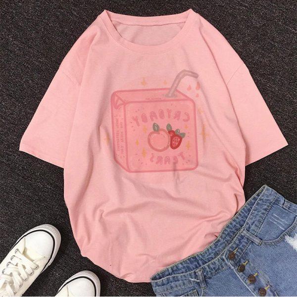 Cartoon Peach print T-shirt 4
