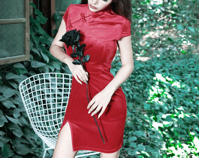 Pastel gothic E-girl cheongsam dress 47