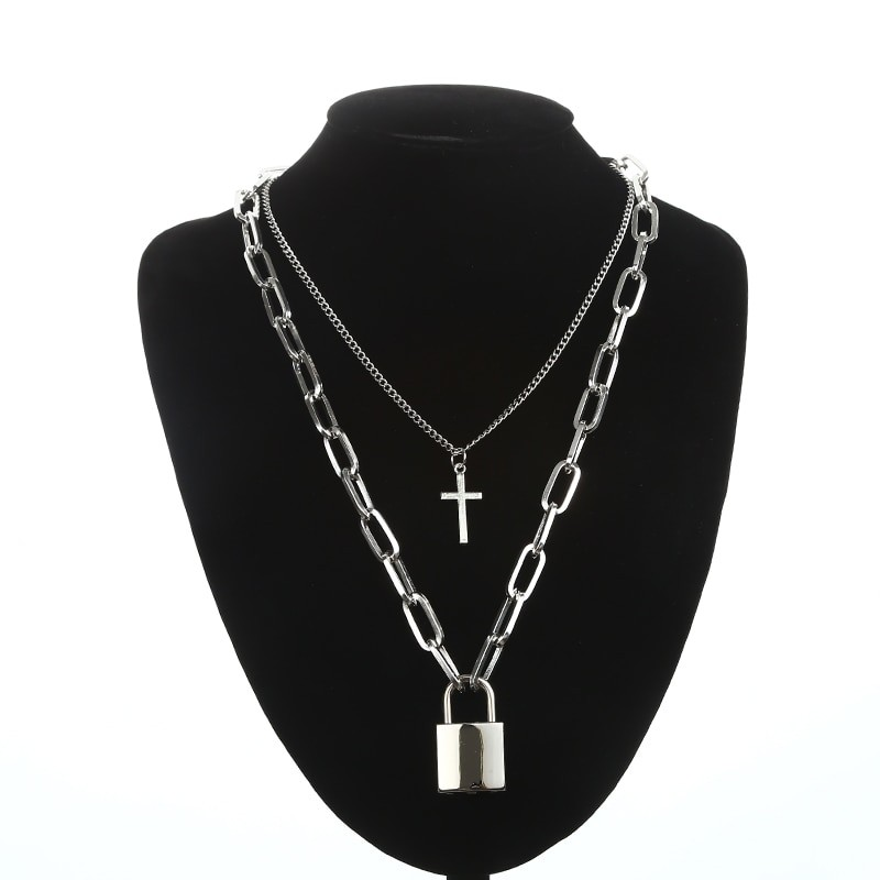 Layered Chain Necklace with Cross Pendant E-girl Pastel gothic 48