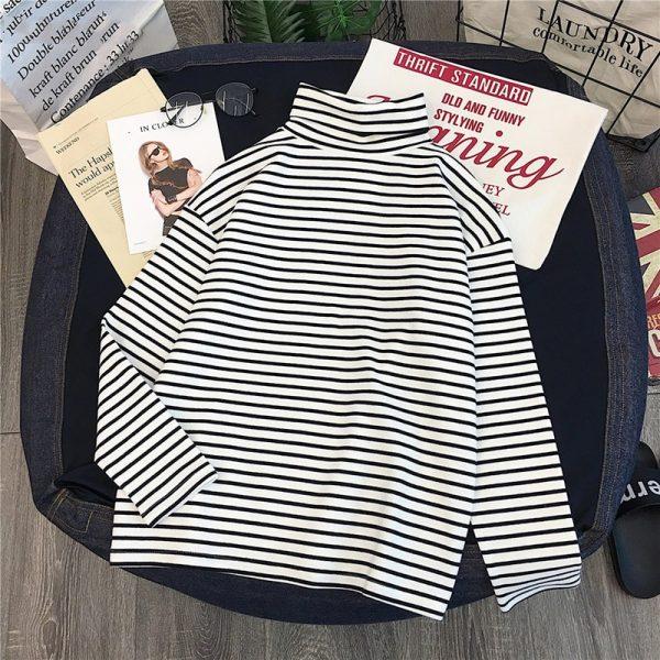 Striped Turtleneck T-shirts 3