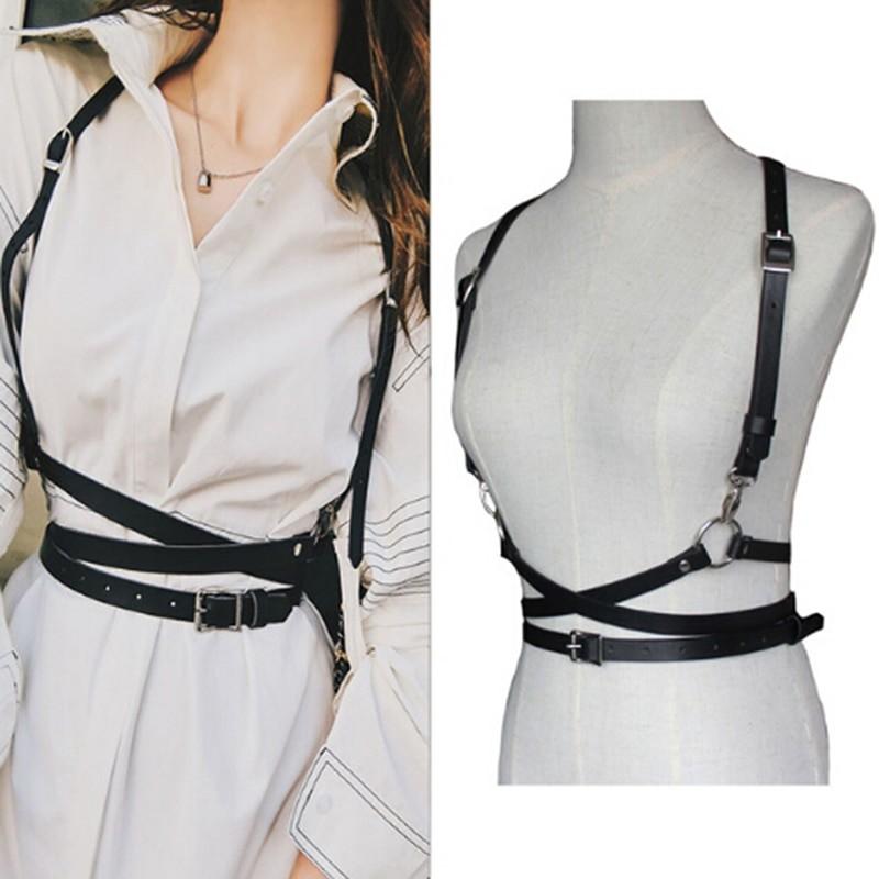 Pastel gothic Leather Body Bondage Waist Belt 42