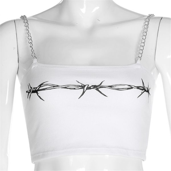 Crop Top with chain straps and thorns print 9