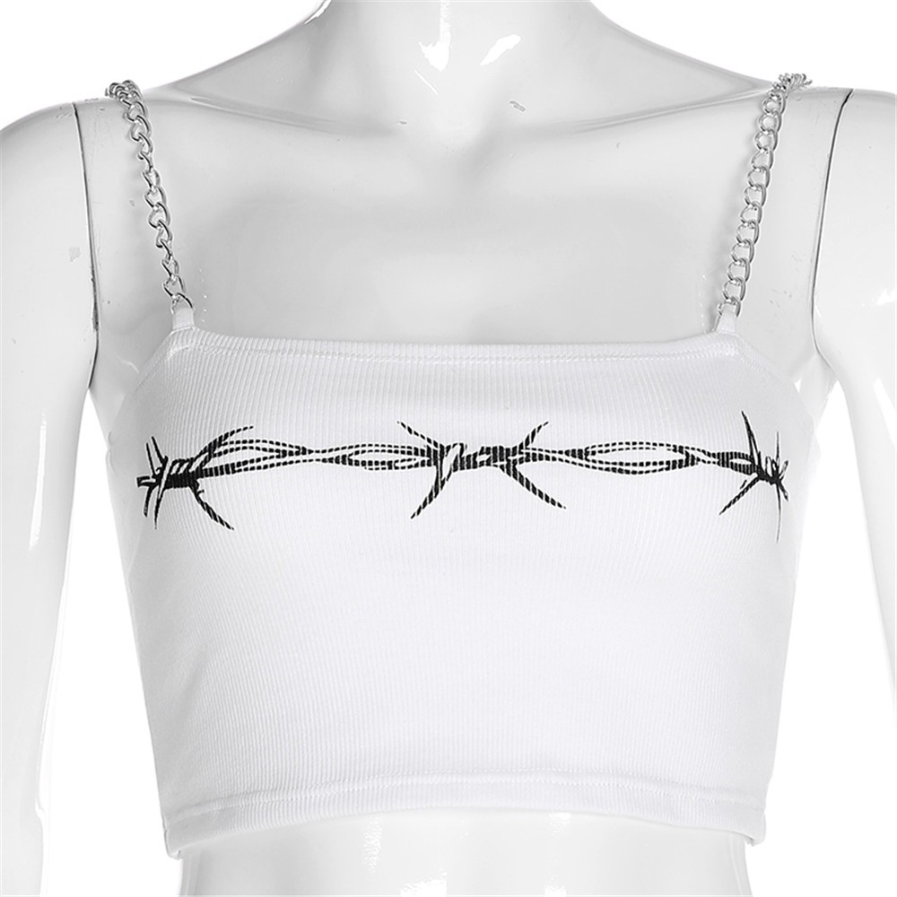 E-girl Crop Top with chain straps and thorns print 42