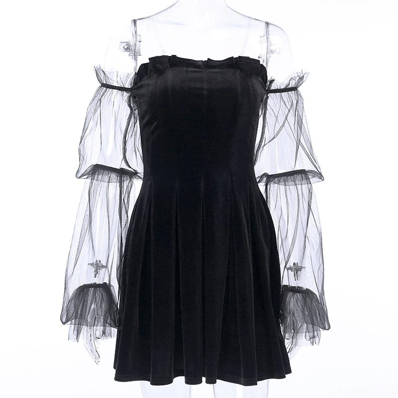 Pastel Gothic Mesh sleeve Vintage Dresses 43