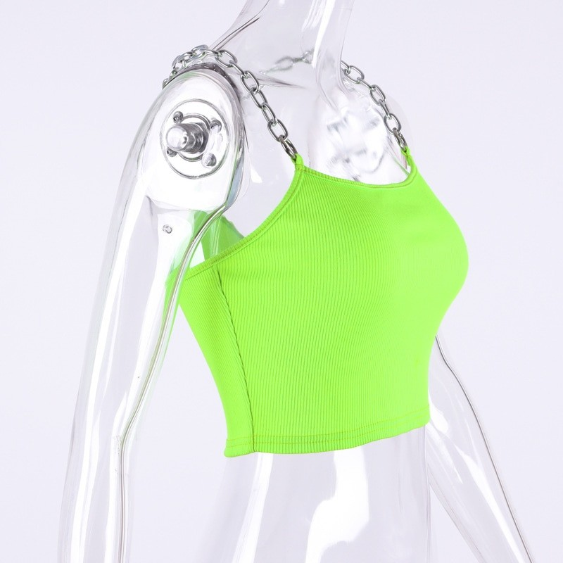Cropped Tank Top with Metal Chain Straps Egirl 42