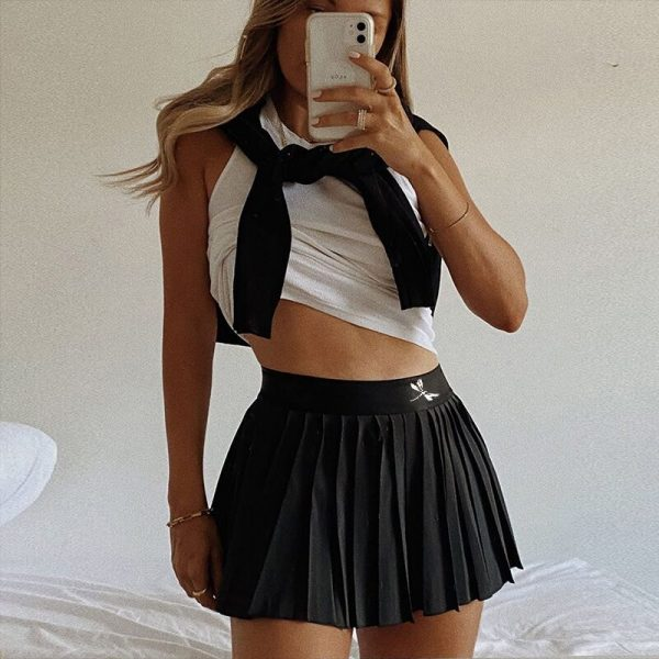 Pleated Mini Skirt with dragonfly 3