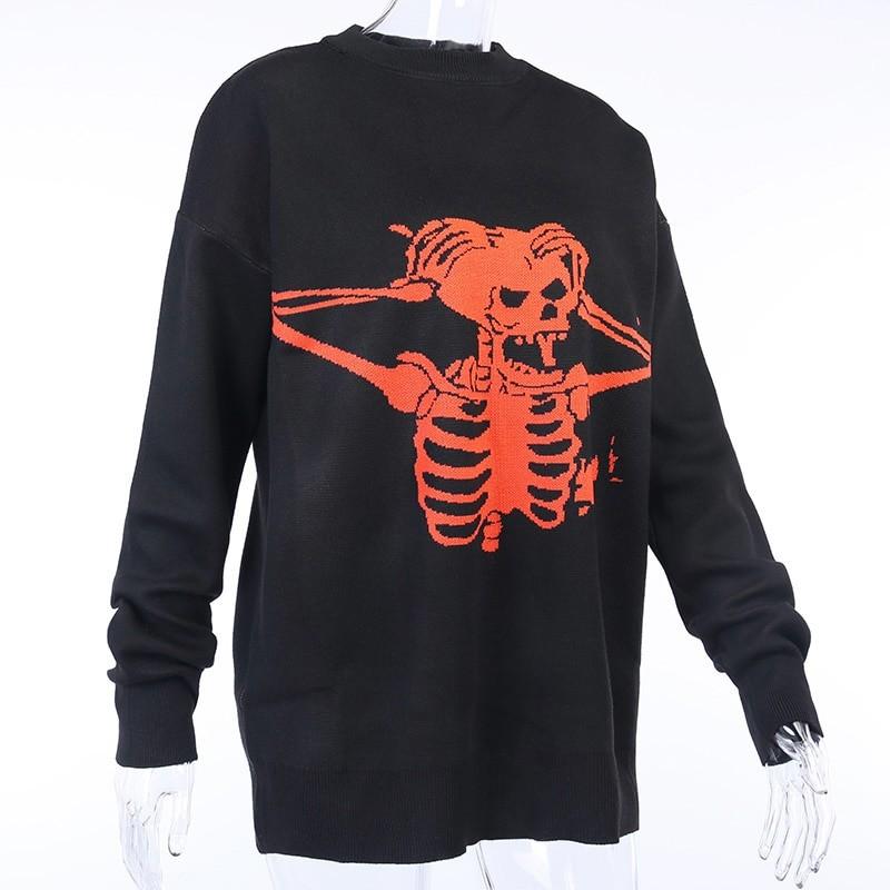 Egirl Eboy Grunge Oversized sweater with skull pattern 47