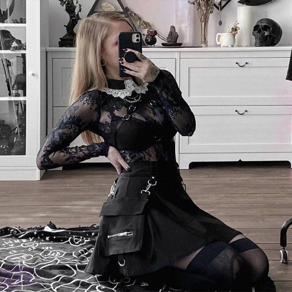 Black Skirts with Bandage  2