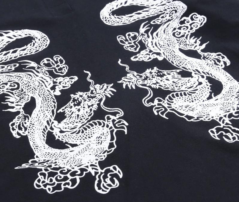 E-girl Gothic Dragon Print T-shrits 45