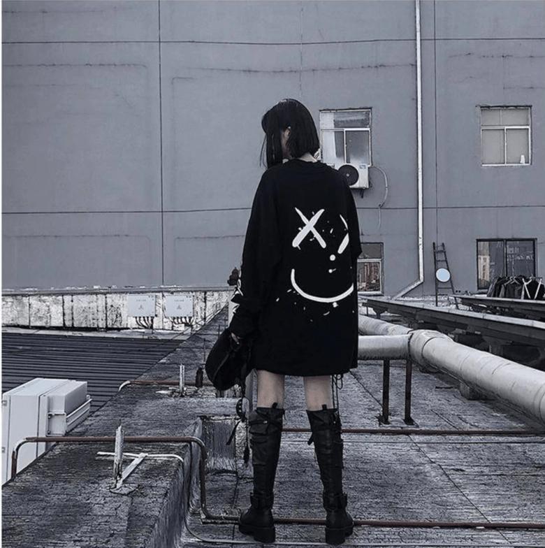 Harajuku E-girl Oversized long sleeve t-shirt 43