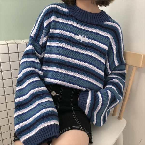Striped loose sleeves pullover  1