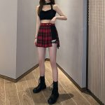 Open Pleated  Mini Skirt with shorts 21