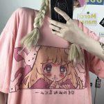 Cute anime print Harajuku T-shirt 1