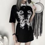 Gothic Dragon Print T-shrits 19
