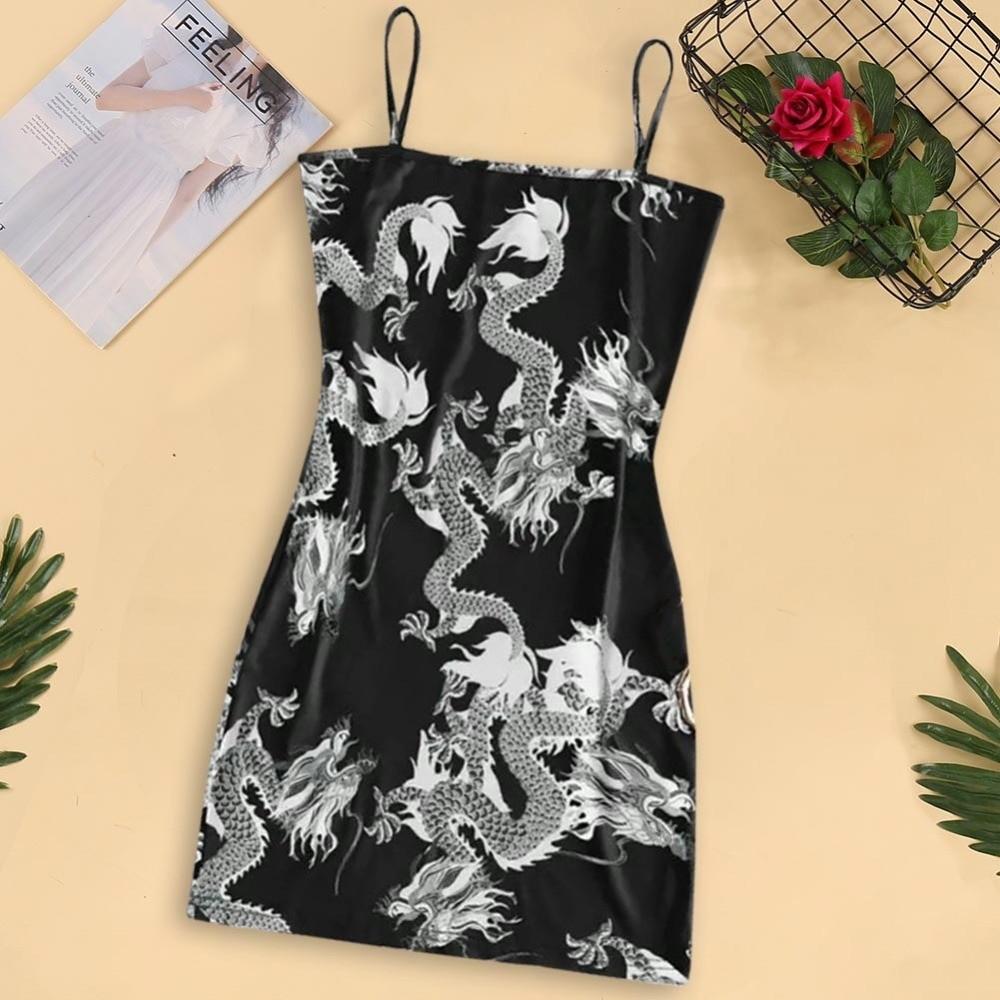 Pastel gothic E-girl Dragon Pattern Sleeveless Dress 43
