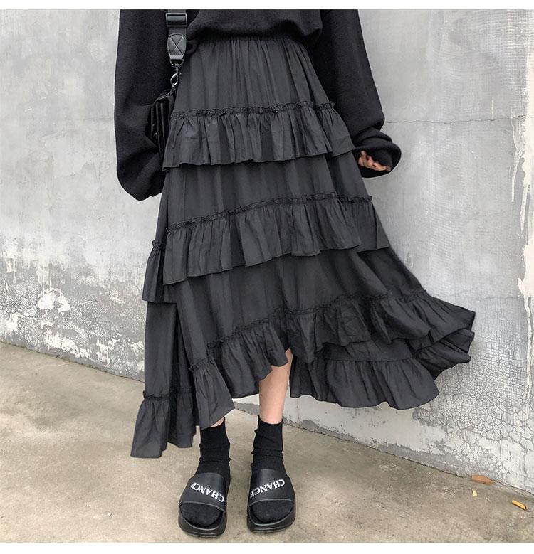 Asymmetrical Ruffle Maxi Skirt Punk Harajuku 44