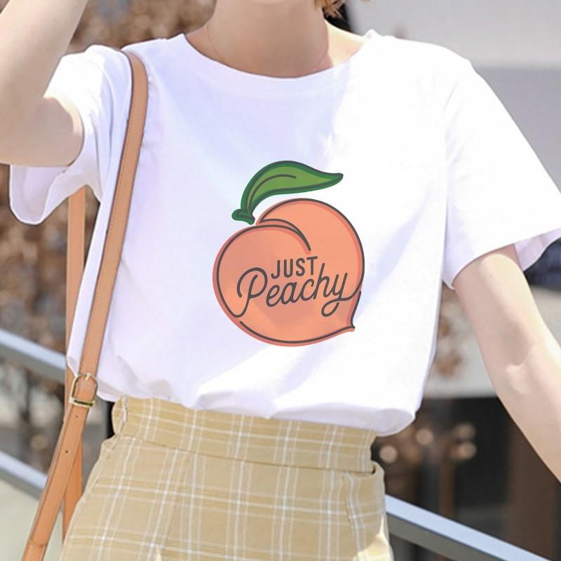 E-girl Soft girl Cartoon Peach print T-shirt 51