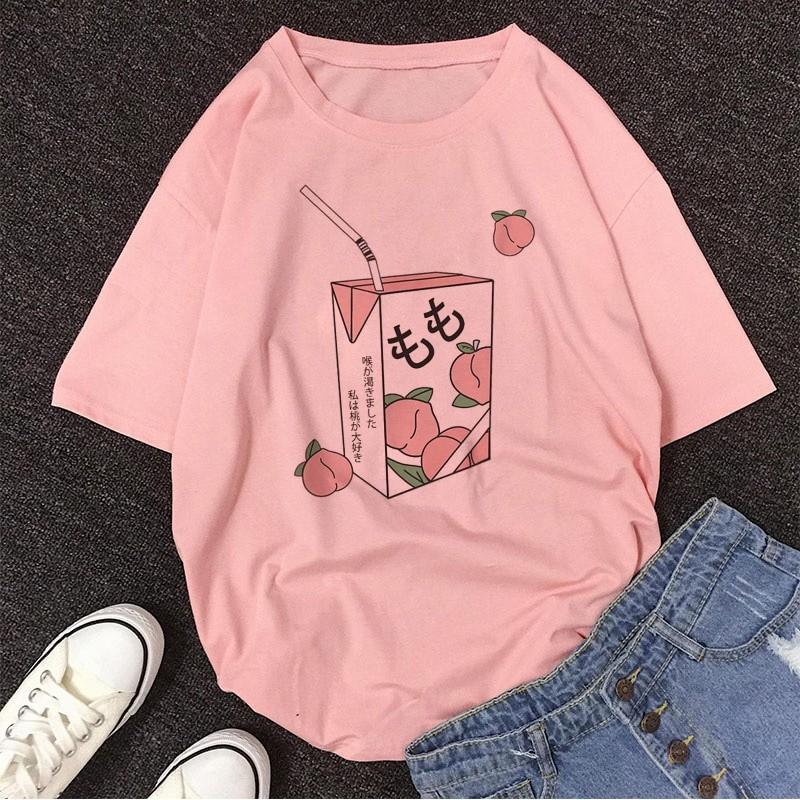 E-girl Soft girl Cartoon Peach print T-shirt 60