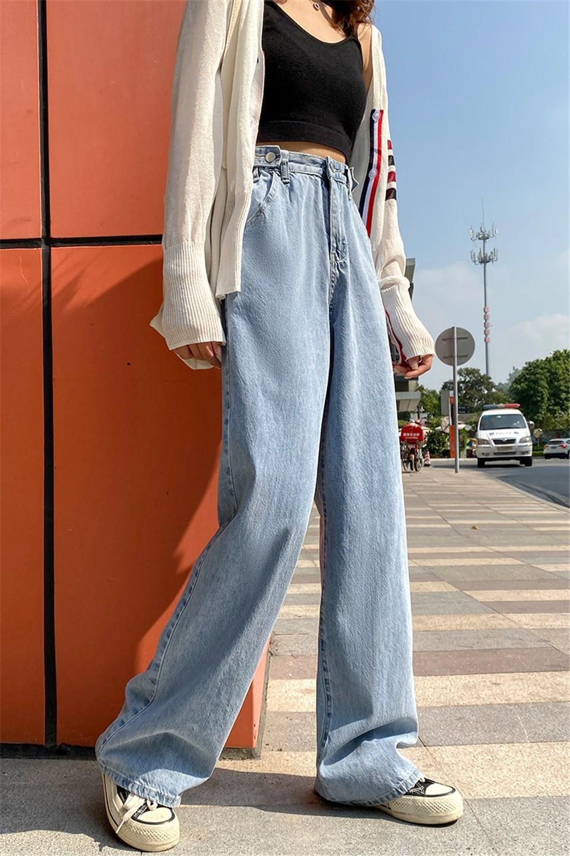 E-girl Soft girl High Waist Harajuku Straight Jeans 42