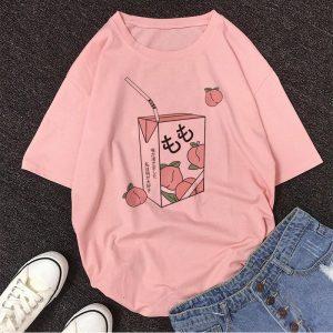 Cartoon Peach print T-shirt 1