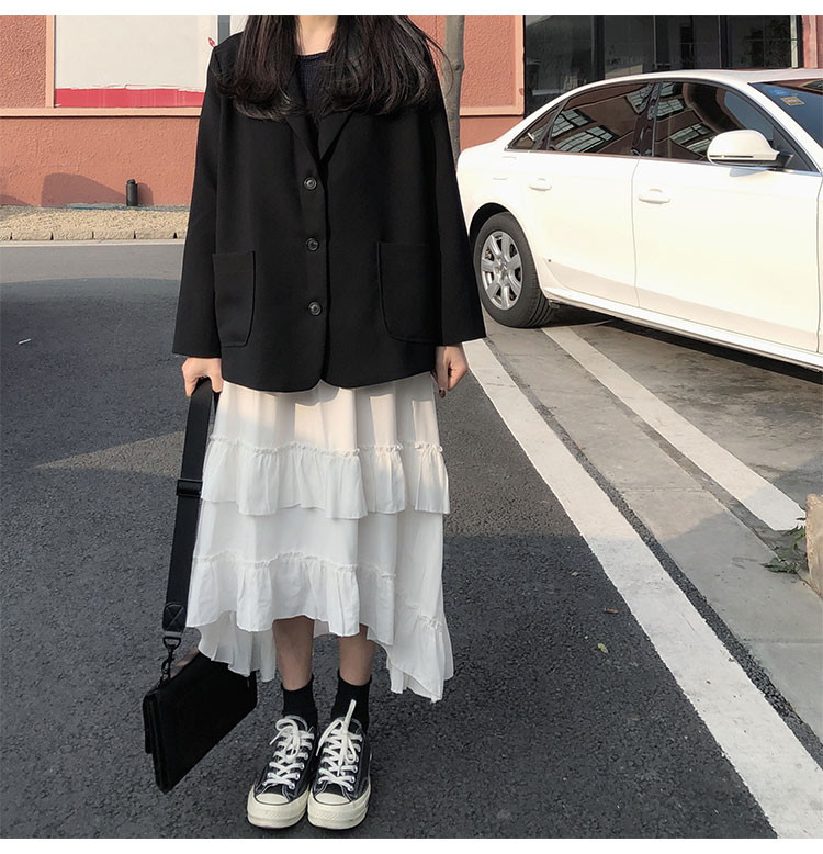 Asymmetrical Ruffle Maxi Skirt Punk Harajuku 51