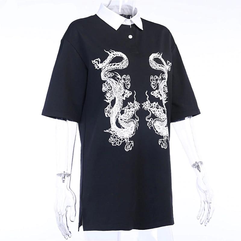 E-girl Gothic Dragon Print T-shrits 42