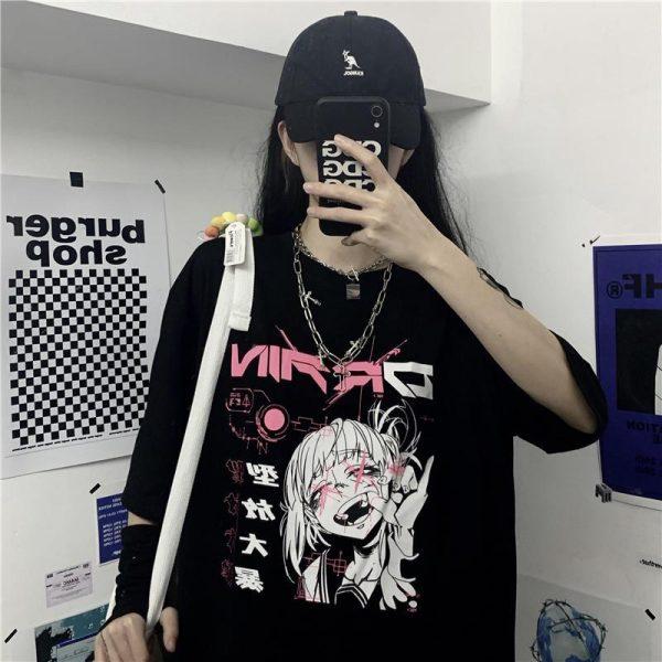 Harajuku Gothic T-shirt with anime print 4