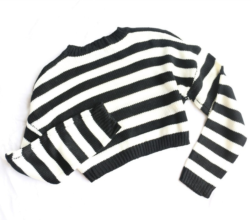 Grunge Striped oversize cropped Sweater 43