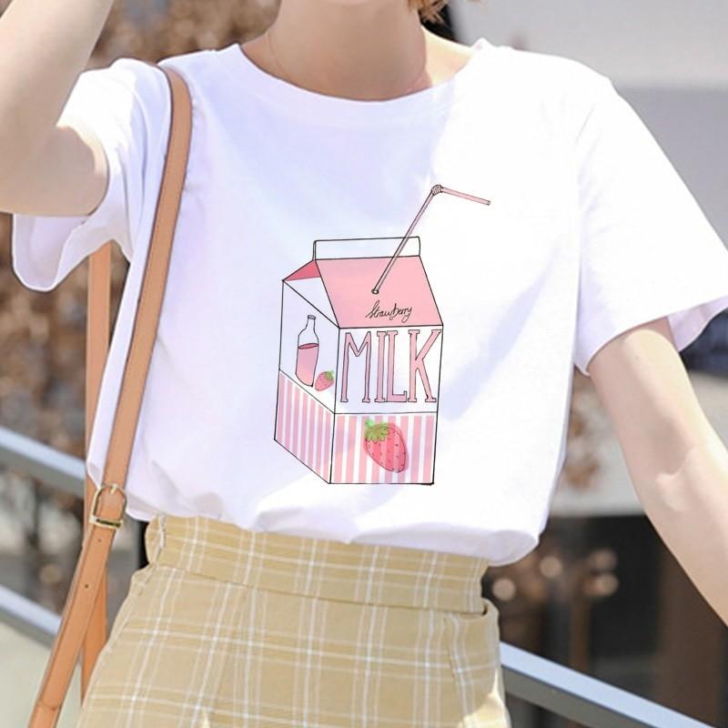 E-girl Soft girl Cartoon Peach print T-shirt 46