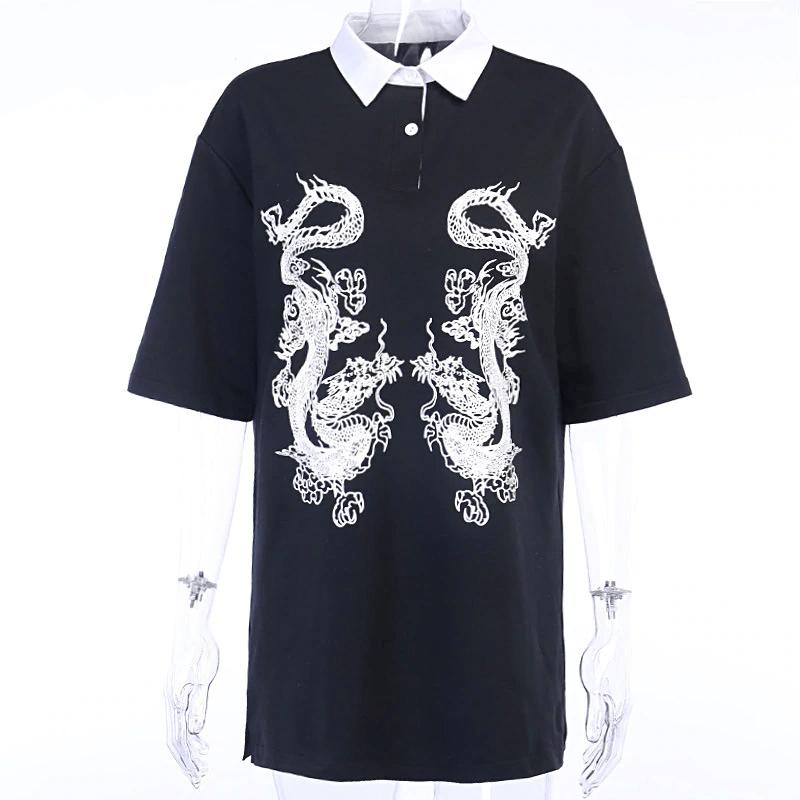 E-girl Gothic Dragon Print T-shrits 41
