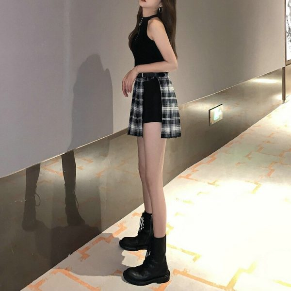 Open Pleated  Mini Skirt with shorts 12
