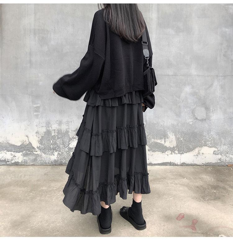 Asymmetrical Ruffle Maxi Skirt Punk Harajuku 50