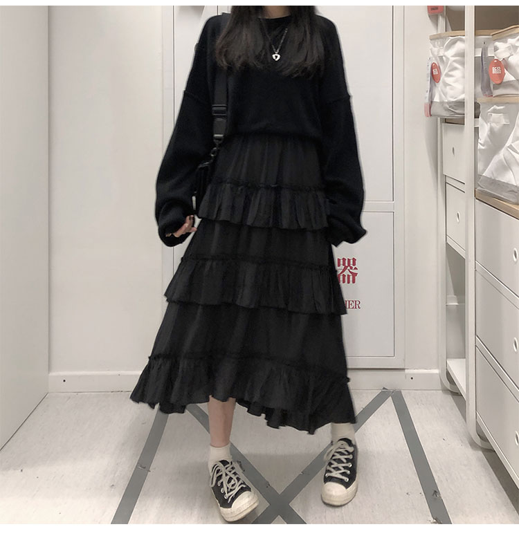 Asymmetrical Ruffle Maxi Skirt Punk Harajuku 43