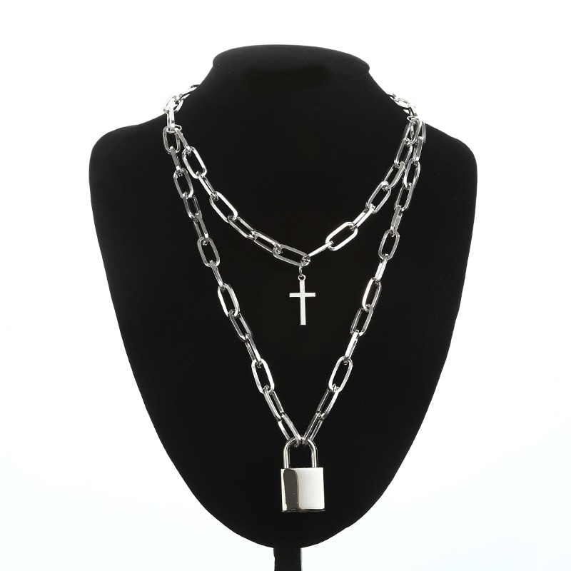 Layered Chain Necklace with Cross Pendant E-girl Pastel gothic 49
