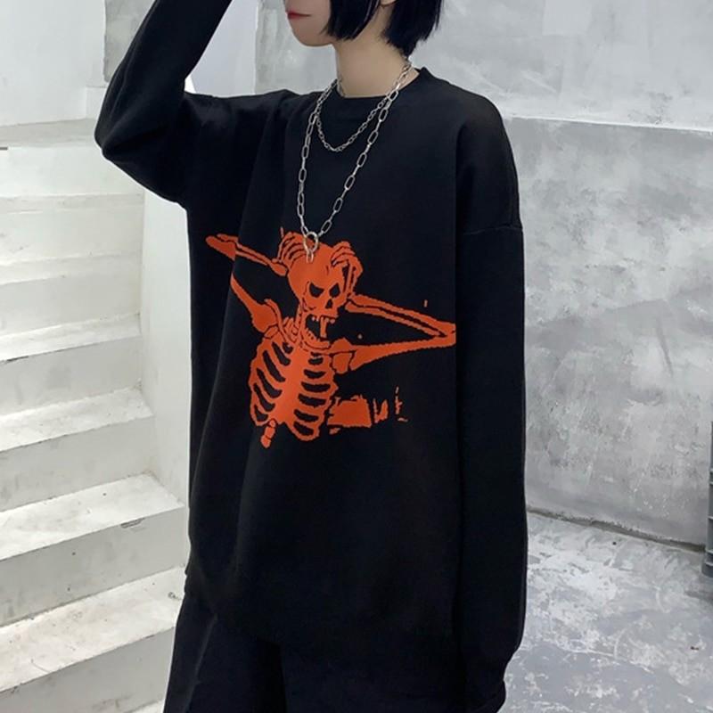 Egirl Eboy Grunge Oversized sweater with skull pattern 43