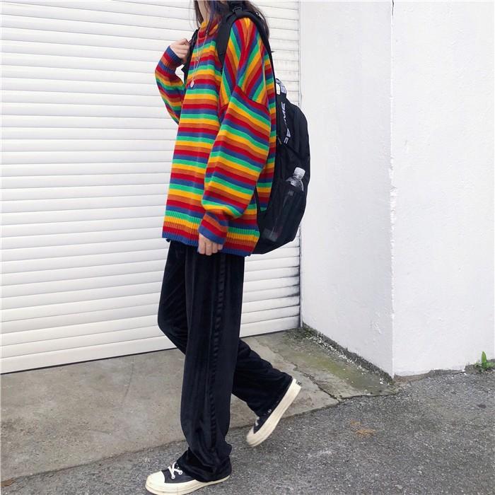 Harajuku E-girl Loose Striped Sweater 45