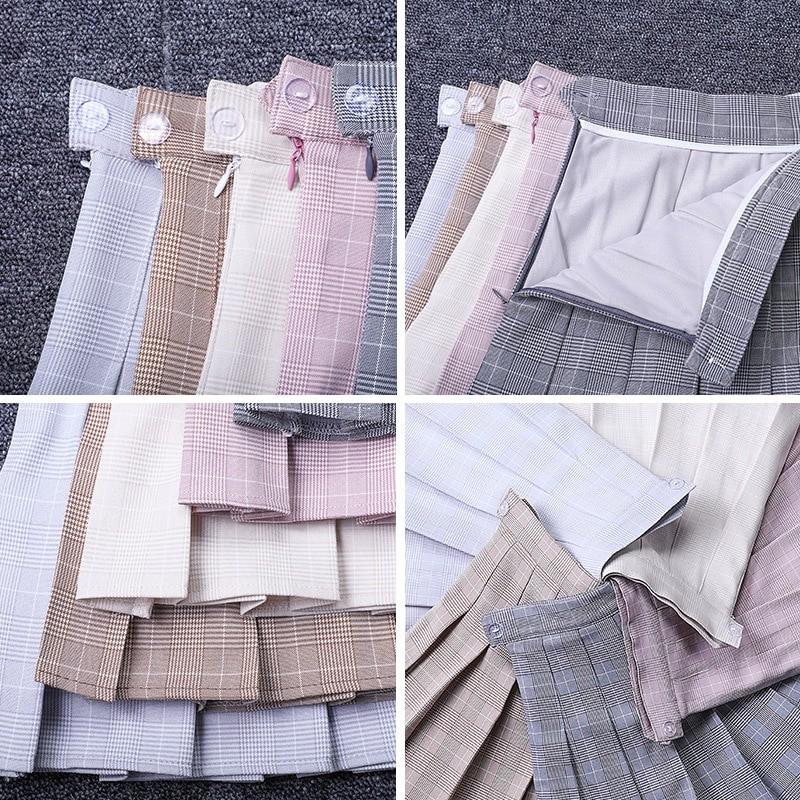 Egirl Harajuku Soft girl Plaid Pleated Mini Skirt 50