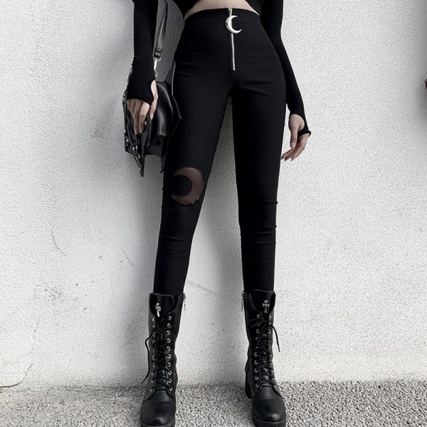 Black bodycon pants with Moon hollow out 2