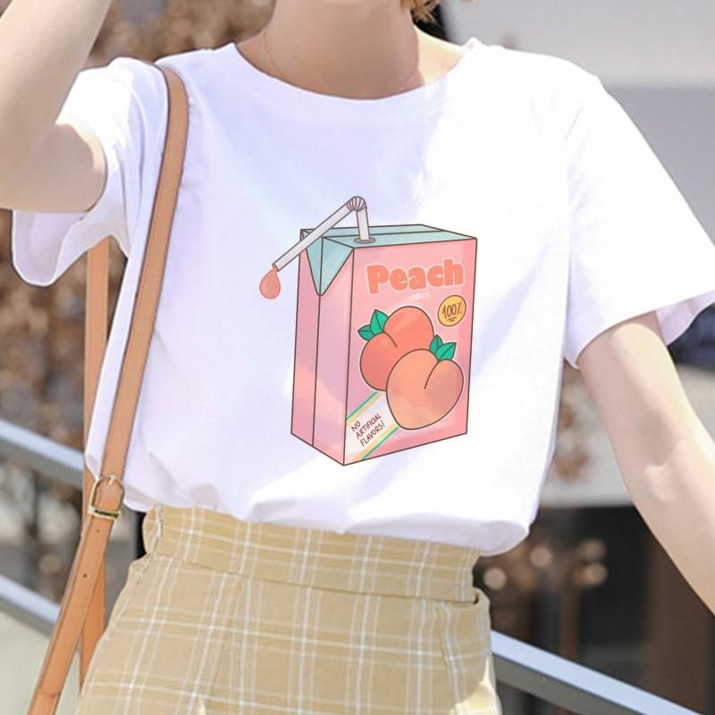 E-girl Soft girl Cartoon Peach print T-shirt 48