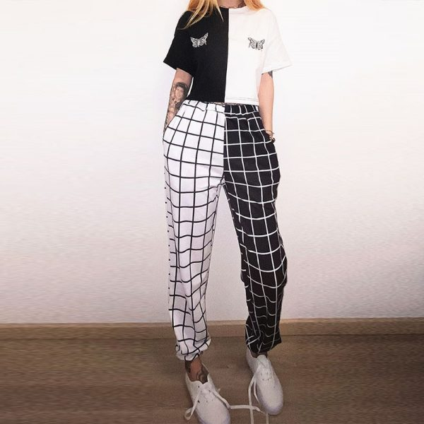 Black and White Checkerboard Trousers 4