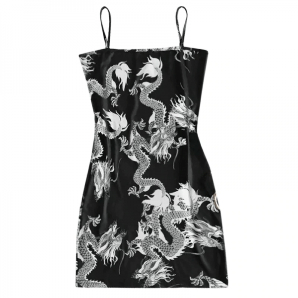 Dragon Pattern Sleeveless Dress 2
